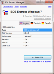 BDE eXpress Windows 7 small screenshot